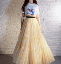 YELLOW Tiered Long Tulle Skirt Outfit High Waist Plus Size Princess Party Outfit image 6