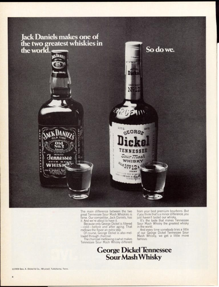 George Dickel Tennessee Sour Mash Whiskey Old No 12 ,Ivory, 1969 ,Vintage Ad