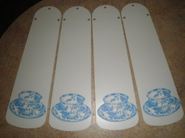 "CUSTOM- 42"" WHITE CEILING FAN WITH BLUE WILLOW CHINA PATTERN TEA CUPS - $89.99"