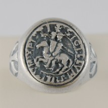 925 BURNISHED SILVER BAND TEMPLARS CRUSADERS RING ANTIQUE STYLE MADE IN ITALY