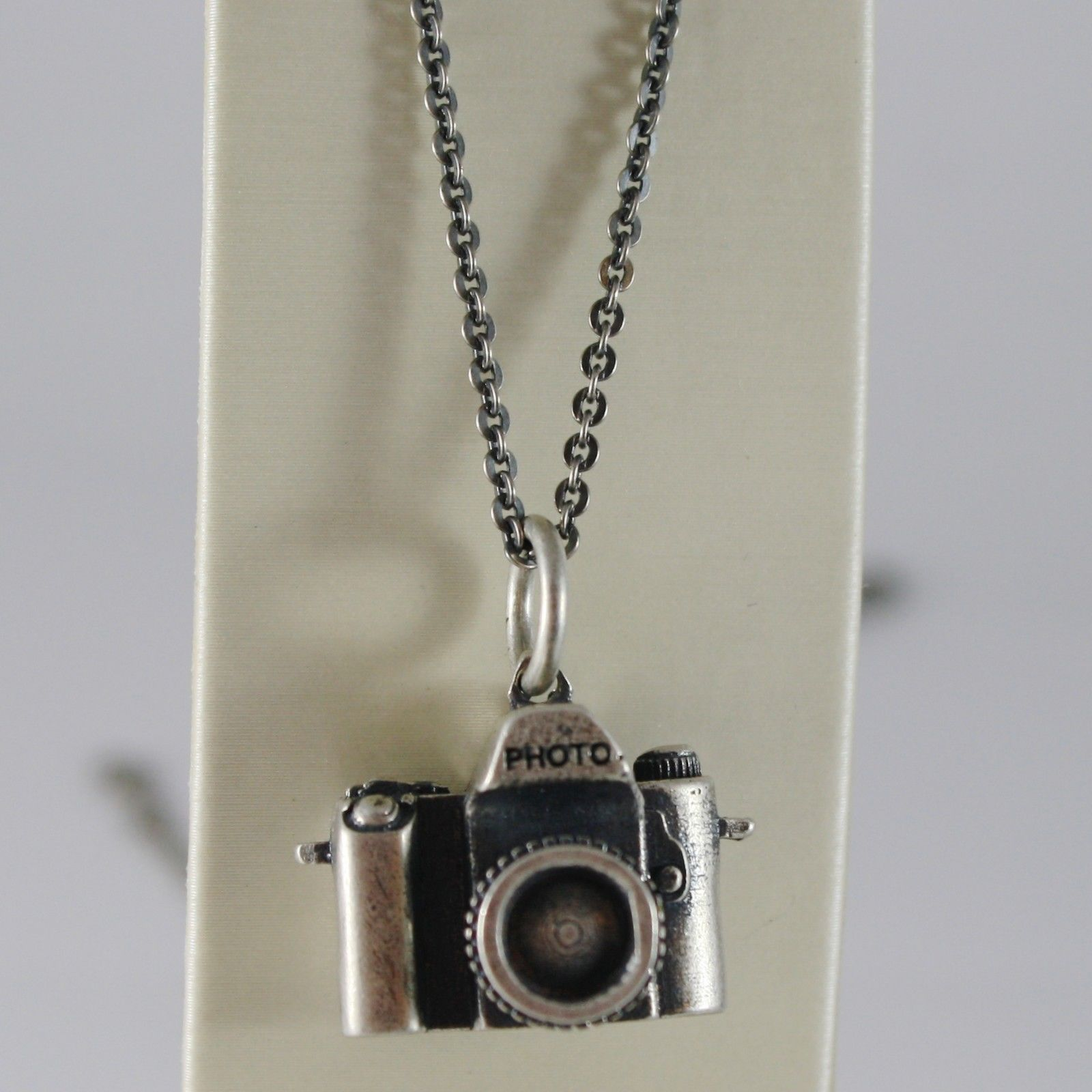 SOLID 925 BURNISHED SILVER NECKLACE DIGITAL CAMERA PHOTOGRAPHER MADE IN ITALY