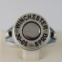 925 BURNISHED SILVER BAND BULLET CARTRIDGE RING VINTAGE STYLE MADE IN ITALY
