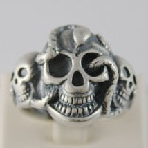 Solid 925 Burnished Silver Band Big Skull Snake Ring Vintage Style Made In Italy - $141.55