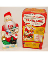 ANIMATED SANTA CLAUS B/O BANK W/ BOX 1960 WORKS... - $199.99