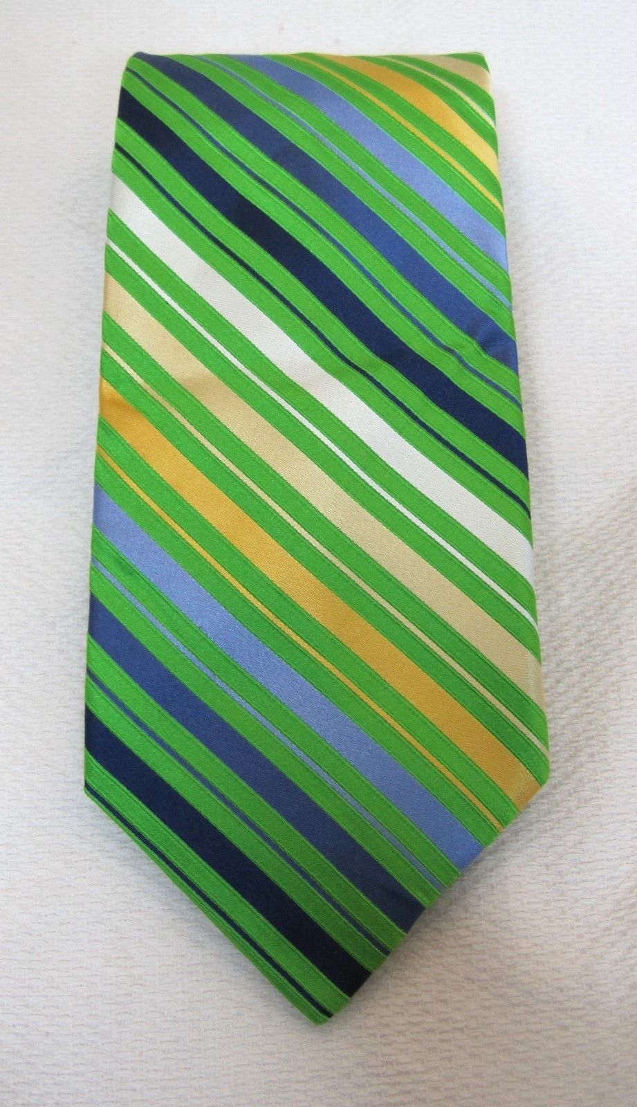 Primary image for City Of London Bright Green Yellow  Blues Silk Necktie Neck Tie Striped Wide T36
