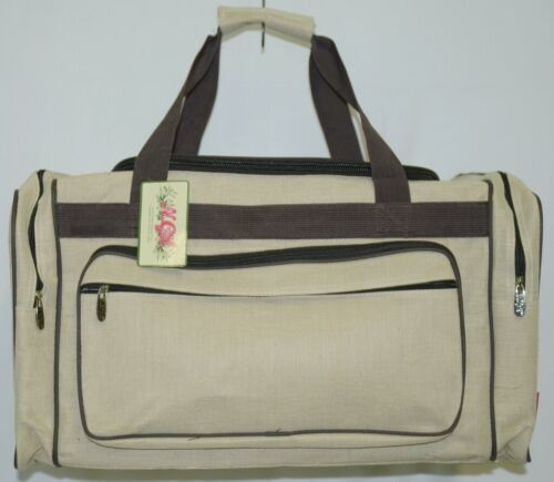 NGIL MA423 Canvas Duffle Bag Colors Khaki and Dark Brown Accents