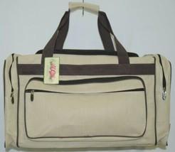 NGIL MA423 Canvas Duffle Bag Colors Khaki and Dark Brown Accents image 1
