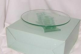 PartyLite Stratus 3-Wick Holder Green Tinted Glass Modern Sleek Elegant ... - $22.72