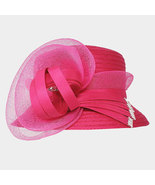 Ginga's Galleria Hot Pink Bow Accented Flower Dressy Derby Hat - $43.50