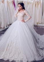 Junoesque Tulle Sheer Jewel Neckline Ball Gown Wedding Dress W Lace Appl... - $541.00