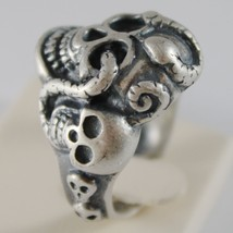 SOLID 925 BURNISHED SILVER BAND BIG SKULL SNAKE RING VINTAGE STYLE MADE IN ITALY image 2