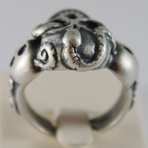 SOLID 925 BURNISHED SILVER BAND BIG SKULL SNAKE RING VINTAGE STYLE MADE IN ITALY image 3