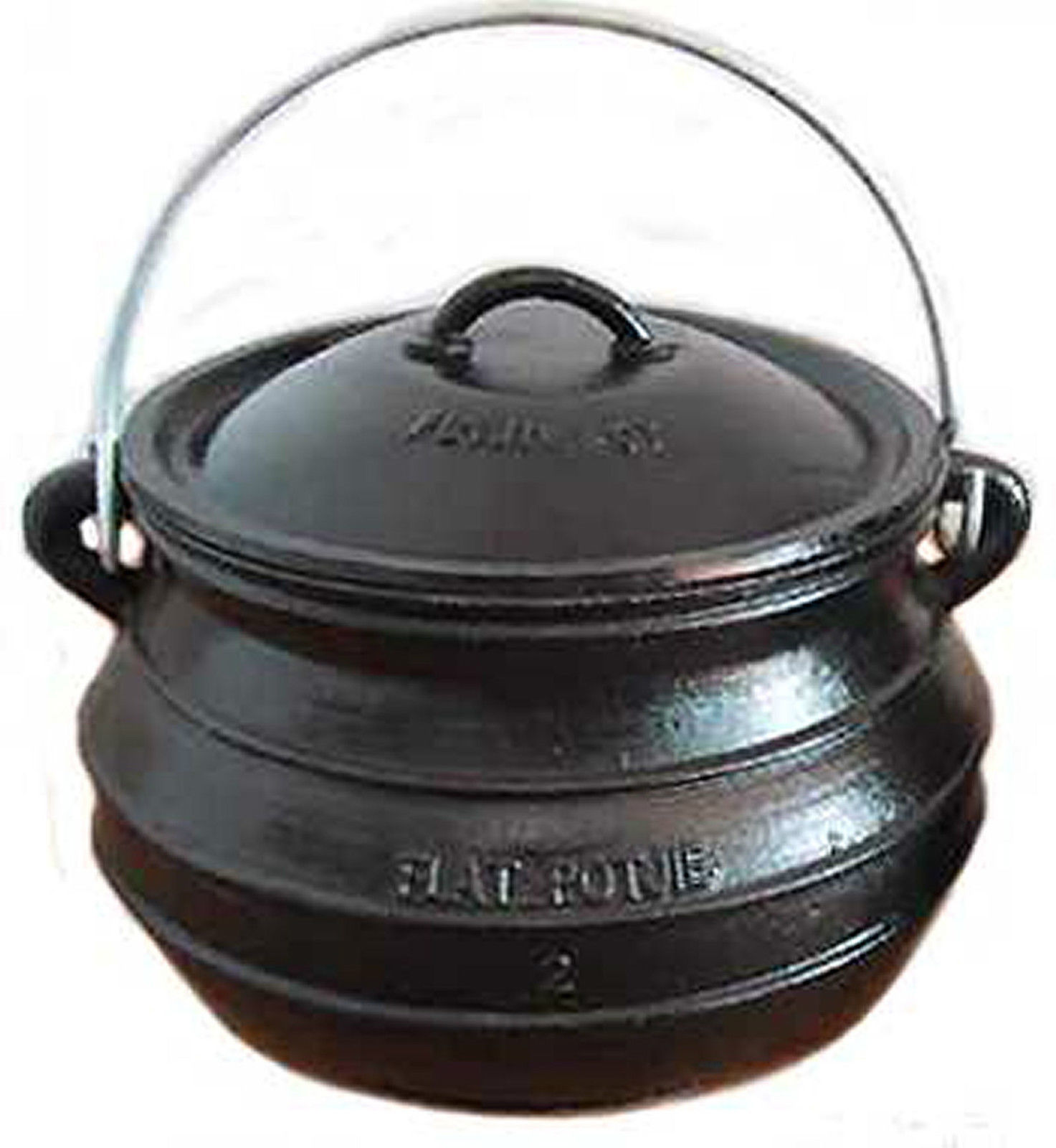 2qt cast iron flat bottom potjie bean pot camping survival stovetop cookware camping cookware. Black Bedroom Furniture Sets. Home Design Ideas