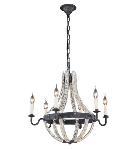Pendants Porch 6 Light With Urban Classic Ivory Wash and Steel Grey 24 in 240 W