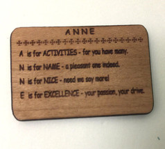 """Wood Laser engraved """"ANNE"""" Plaque SIGN in Miniature Dollhouse Scale 1:12 - $8.88"""