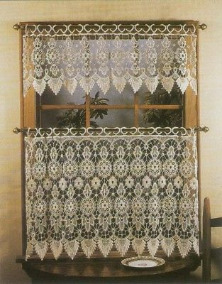 "Primary image for Medallion Macrame Tier & Valance Set, 24"" Length Tier, Ecru, Lorraine Home"