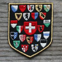 SWITZERLAND Vintage Ski Patch Travel Cloth Schweiz CANTONS Coats of Arms - $11.60