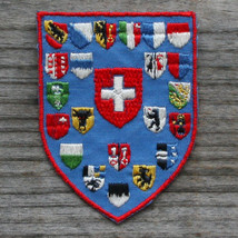 SWITZERLAND Vintage Ski Patch Travel Cloth Schweiz CANTONS Coats of Arms... - $11.60