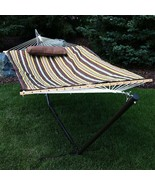Deluxe Cotton Rope Hammock Durable With 12 Foot Heavy Duty Steel Stand - $176.84