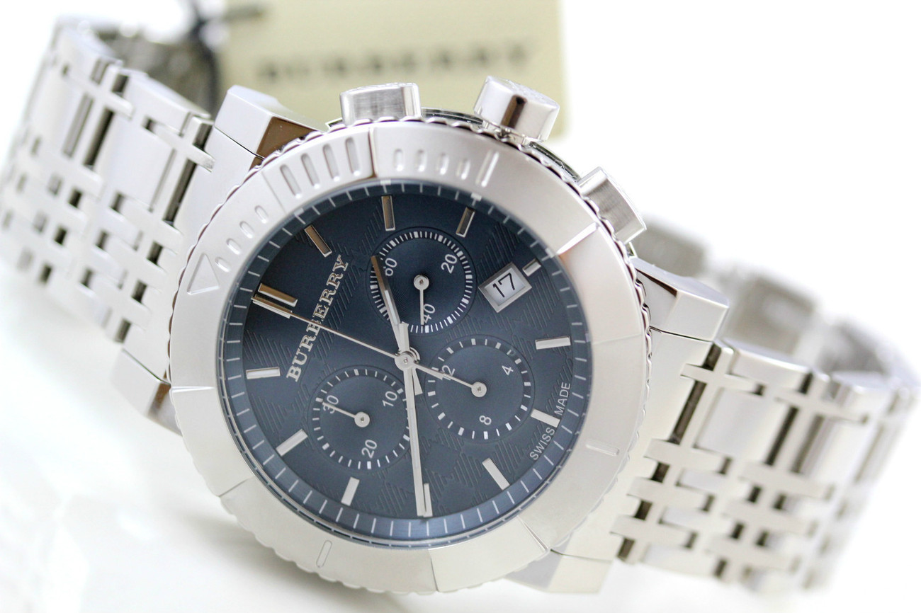 Primary image for BU2308 Burberry City men watch 42mm silver-tone chronograph date blue dial 12Hr