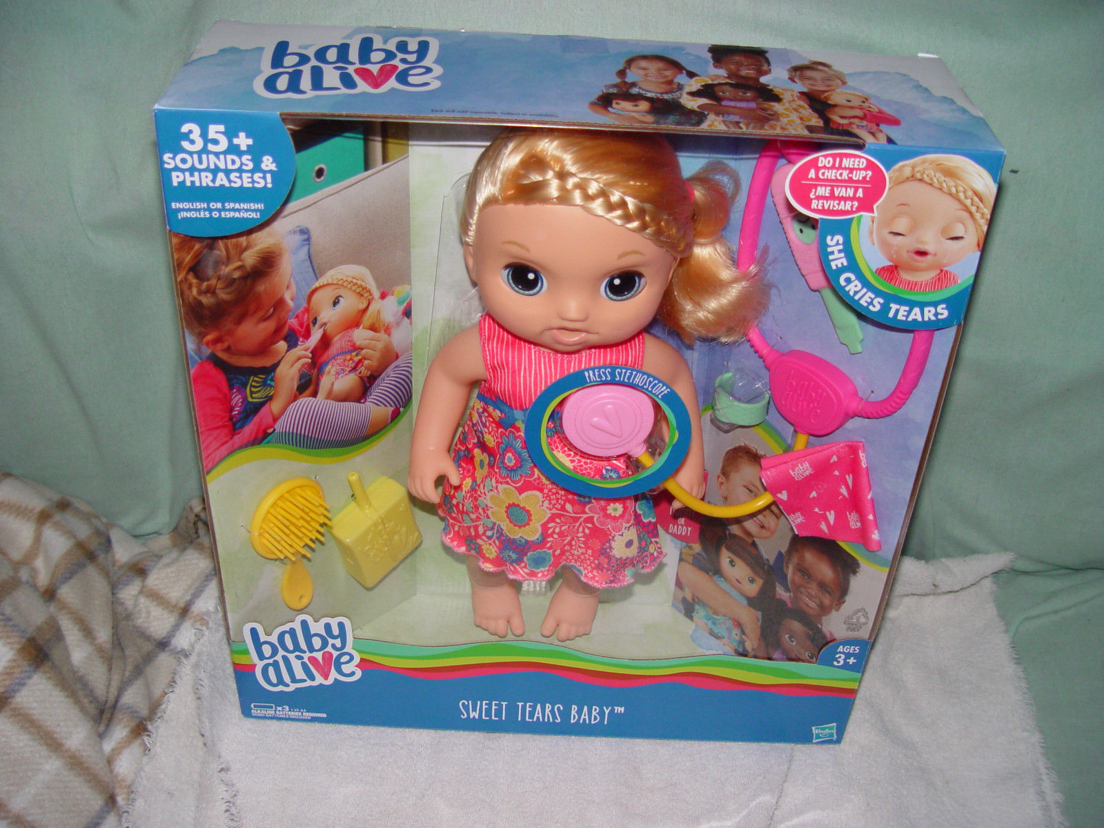 Baby Alive Sweet Tears Interactive Baby Doll Blonde New In