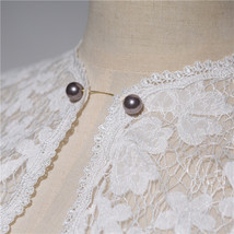 White Lace Wedding Cover Ups Retro Style Bridal Shrugs Boleros Pearl deco Plus  image 5