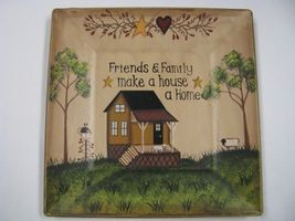 Wood Plate  P8SQ3FF-Friends & Family  makes a house a home  - $12.95