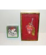Gorham Crystal Holiday Dove and Champagne Bucket Christmas Ornaments wit... - $9.95