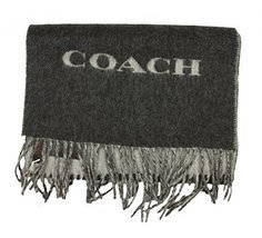 Coach Mens Bi Color Double Face Wool Scarf in Charcoal Grey85134 - £57.97 GBP