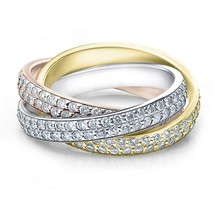 Tri Gold 2 5/8ct Rolling Ring Diamond Eternity Band - £1,952.49 GBP