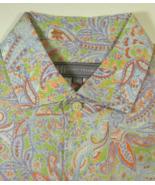 HICKEY FREEMAN Md Rich Pastel Light Green Purple Orange Paisley Shirt - $129.99