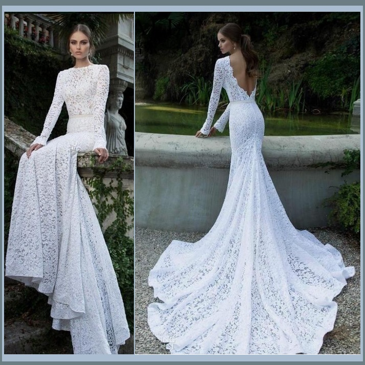 Elegant Backless Long Sleeve Mermaid White Lace Chiffon Long Train Bridal Gown