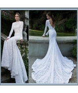 Elegant Backless Long Sleeve Mermaid White Lace Chiffon Long Train Brida... - $292.95
