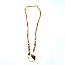 1980 Vintage Chain Necklace With Enamel Monet Pendant - $18.88