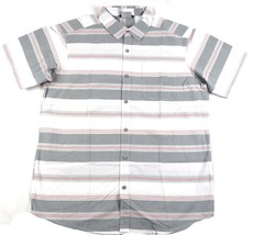 Large Men's Shirt Columbia SS Thompson Hill Yarn Dye Button Woven Grey Ash