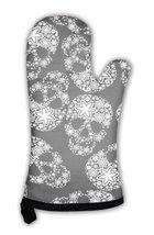 Oven Mitt, White Skulls In Flowers On Black - $24.50+