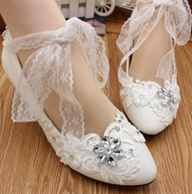 Ivory White Bridal Low Heels,Lace Wedding heels Shoes,Lace Flower Girls Heels - $38.00