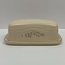 Pfaltzgraff Butter Dish Lidded Set Remembrance Peach White & Gray Floral #028 - $10.79