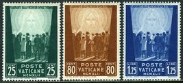1942 Christ the Redeemer Set of 3 Vatican Stamps Catalog Number 77-79 MNH