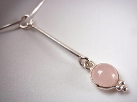 New Round Rose Quartz Long Stem Silver Necklace India - $22.72