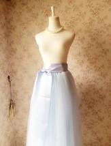 LIGHT BLUE Maxi tulle skirt Plus Size Wedding Petticoat Skirt 3 layer NWT image 5