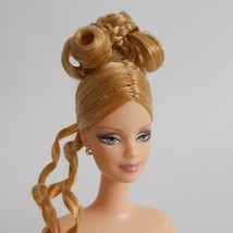 Collector Barbie Blonde Updo Mackie Face Glamorous Makeup Silver Earrings - $29.69