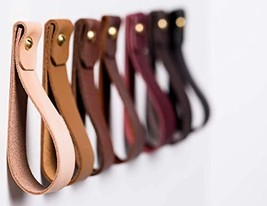 KEYAIIRA - Medium Leather Wall Hook, minimalist leather strap hanger for bath to