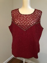 AS HRO Beaded Sleeveless Blouse Sz XL RN 108854 Burgundy - $29.02
