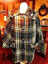 TRENCH COAT PEACOAT Womens Fashion Green Plaid Parka Wool Blend Mid-Leng... - $30.81
