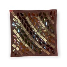 Autumn Inspirations Lyrical Leaves Mosaic Glass Candle Tray Yankee Candl... - $10.99