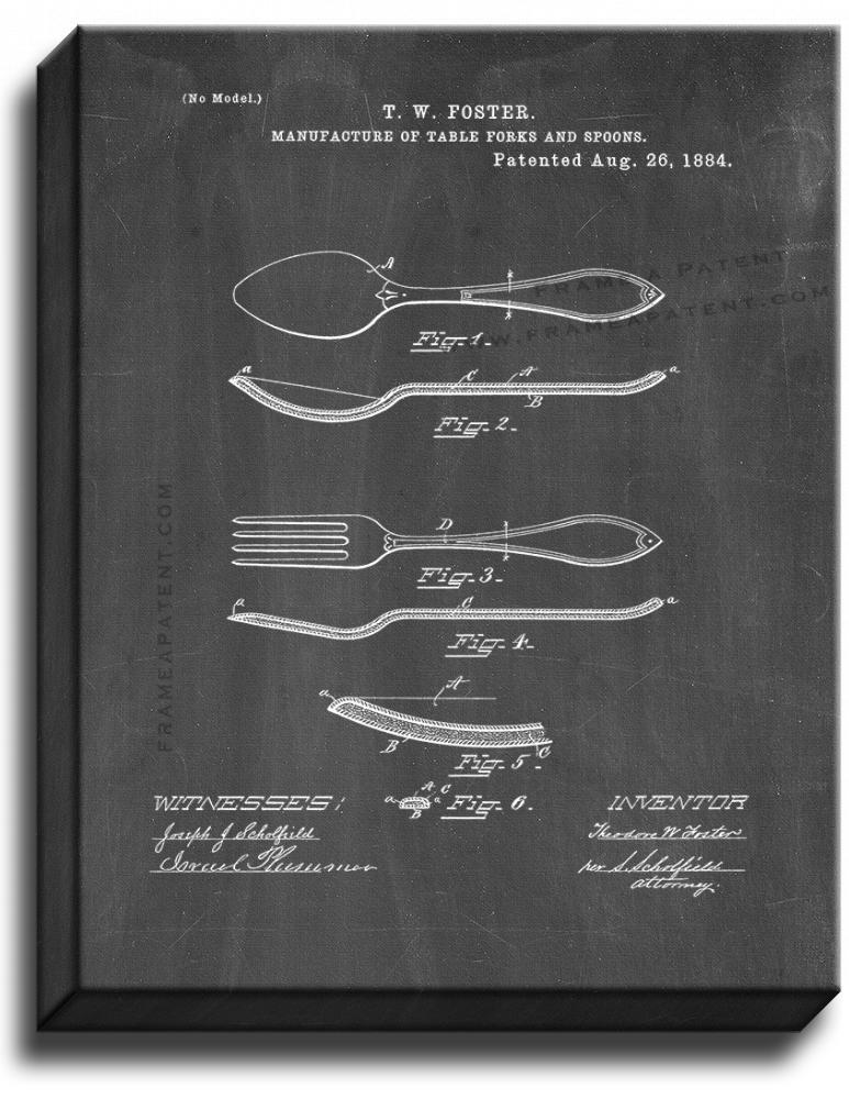 Primary image for Table Forks And Spoons Patent Print Chalkboard on Canvas