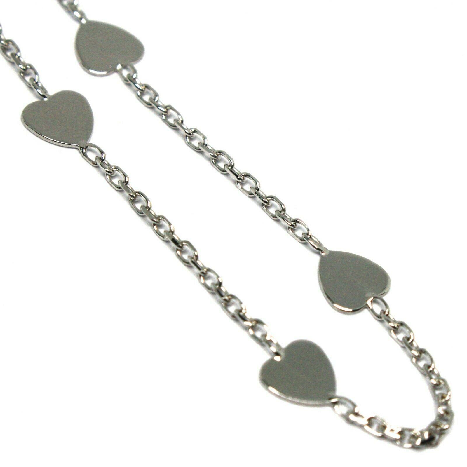 Bracelet White Gold 18K 750, Hearts Plates, Heart, Length 14-16 cm ,Italy