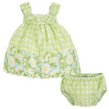 Mayoral Baby Girls 3M-24M Green Bow Shoulder Check Plaid Border Print Dress