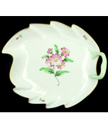 "Vintage Herend 9"" Large Leaf Server Dish w Gold -Pink Flower- Green Stem... - $89.99"